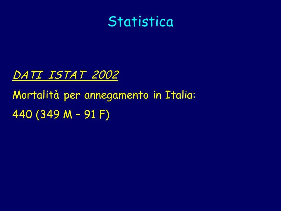 Statistica DATI ISTAT 2002 Mortalità per annegamento in Italia: 440 (349 M – 91 F)