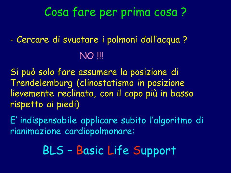 Ricordare la scala del BLS 1) Airway : valutare la pervietà delle vie aeree 2) Breathing : valutare la respirazione 3) Circulation : valutare lattivitò circolatoria