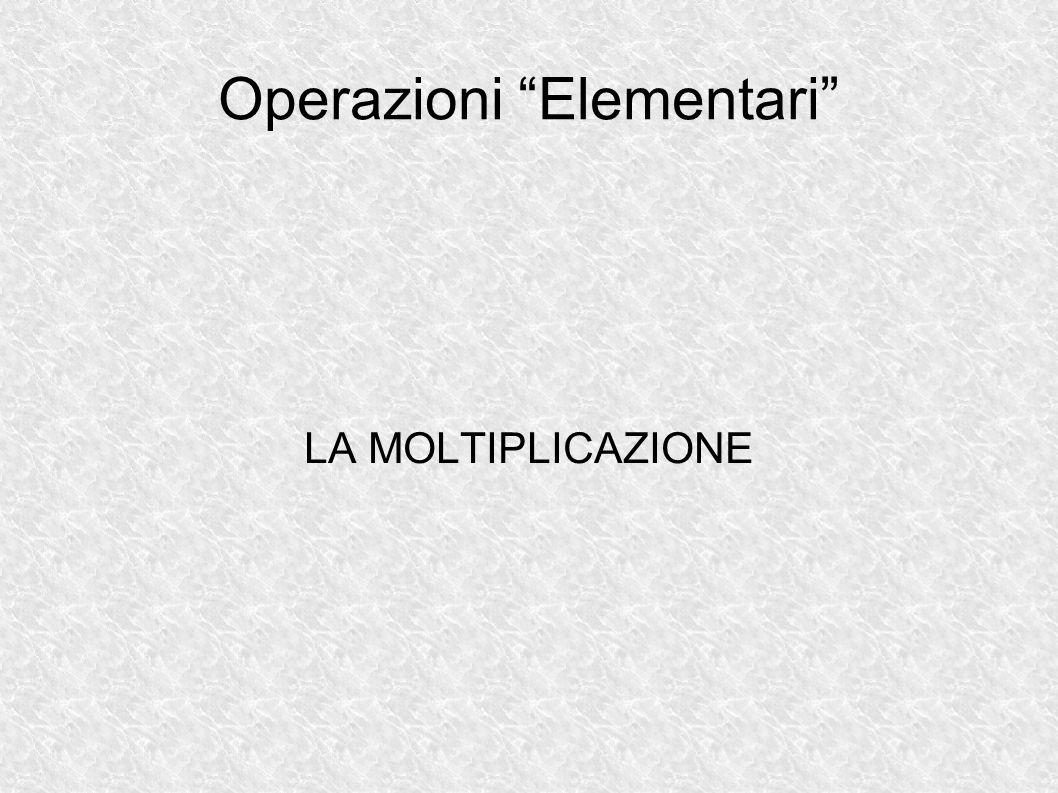 Operazioni Elementari LA MOLTIPLICAZIONE