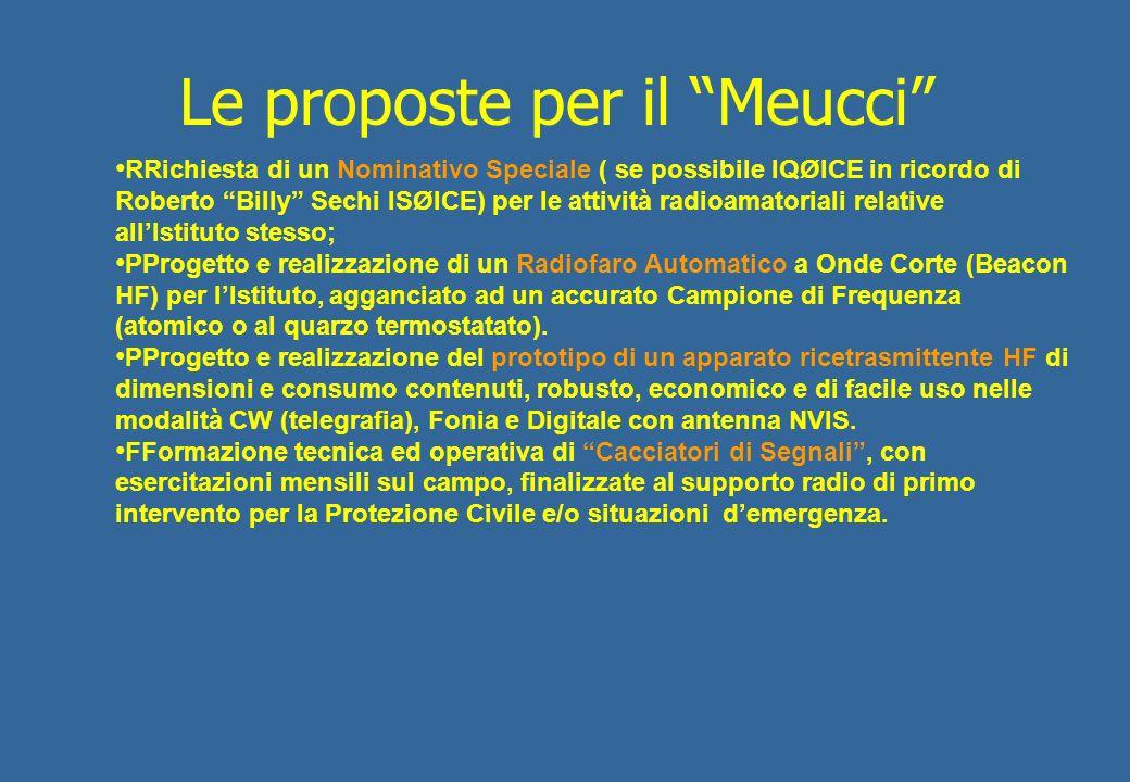 Le proposte per il Meucci RRichiesta di un Nominativo Speciale ( se possibile IQØICE in ricordo di Roberto Billy Sechi ISØICE) per le attività radioam