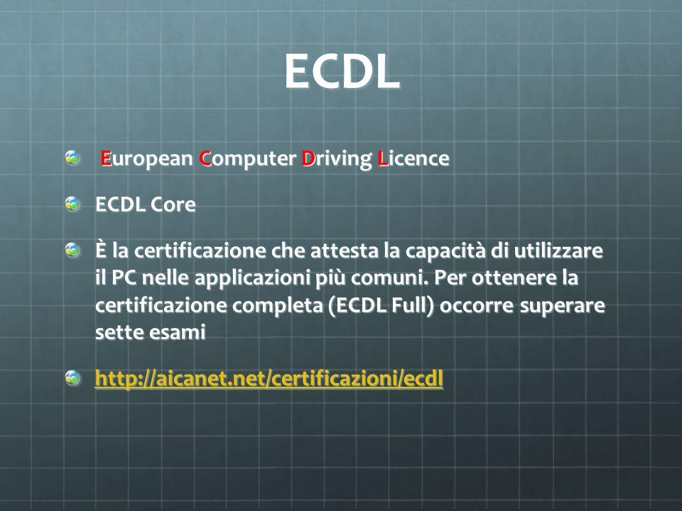 ECDL Core Level ECDL Core è lattestazione di base di chi vuole, in quanto utilizzatore, misurare e dimostrare la capacità di usare il computer a fini lavorativi (in aziende, enti pubblici, studi professionali, e così via) e formativi.