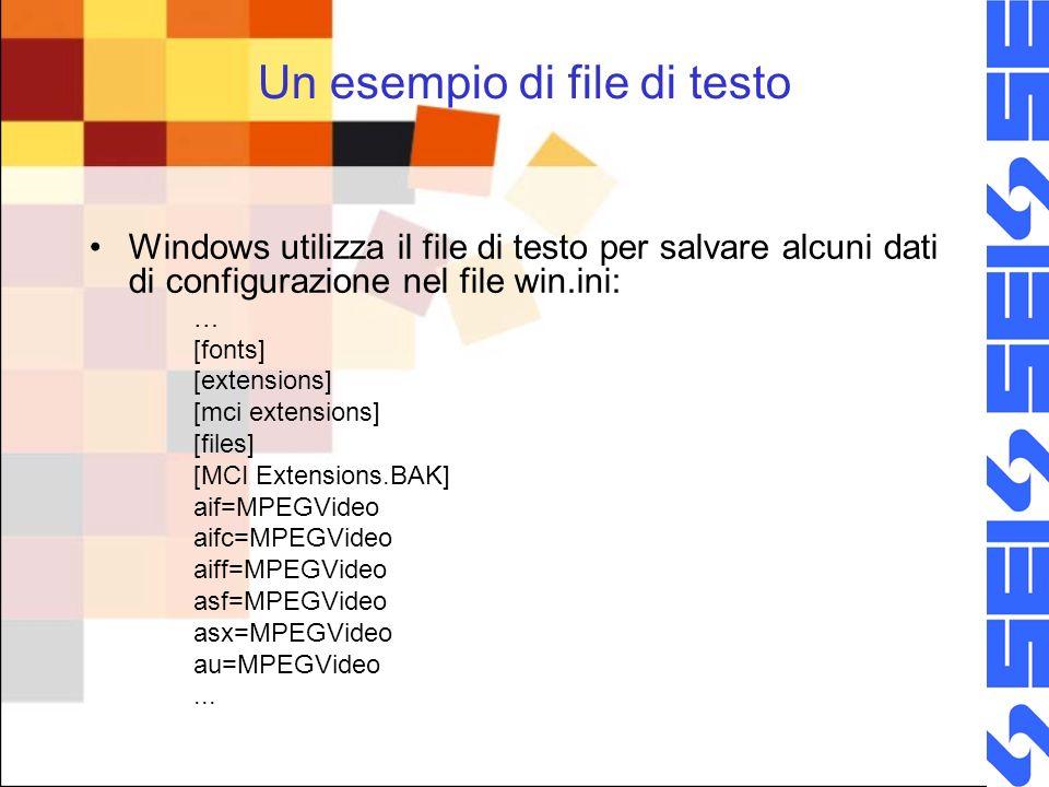 Un esempio di file di testo Windows utilizza il file di testo per salvare alcuni dati di configurazione nel file win.ini: … [fonts] [extensions] [mci extensions] [files] [MCI Extensions.BAK] aif=MPEGVideo aifc=MPEGVideo aiff=MPEGVideo asf=MPEGVideo asx=MPEGVideo au=MPEGVideo...