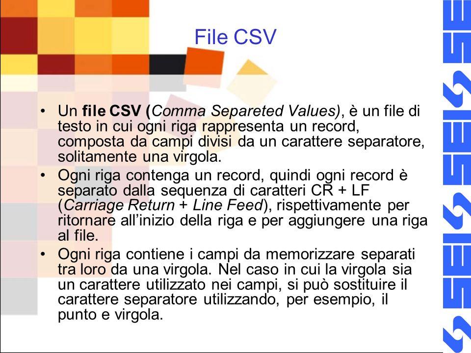 File CSV Un file CSV (Comma Separeted Values), è un file di testo in cui ogni riga rappresenta un record, composta da campi divisi da un carattere separatore, solitamente una virgola.