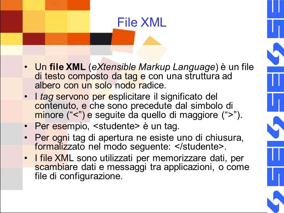 File XML Un file XML (eXtensible Markup Language) è un file di testo composto da tag e con una struttura ad albero con un solo nodo radice.