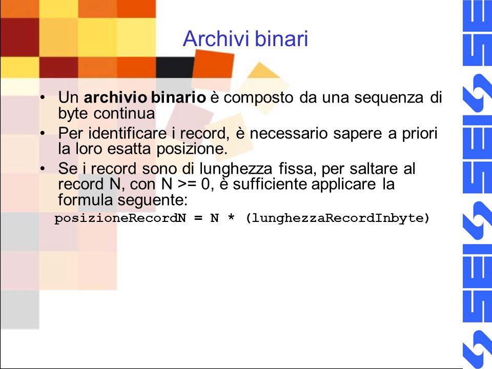 Archivi binari Un archivio binario è composto da una sequenza di byte continua Per identificare i record, è necessario sapere a priori la loro esatta posizione.