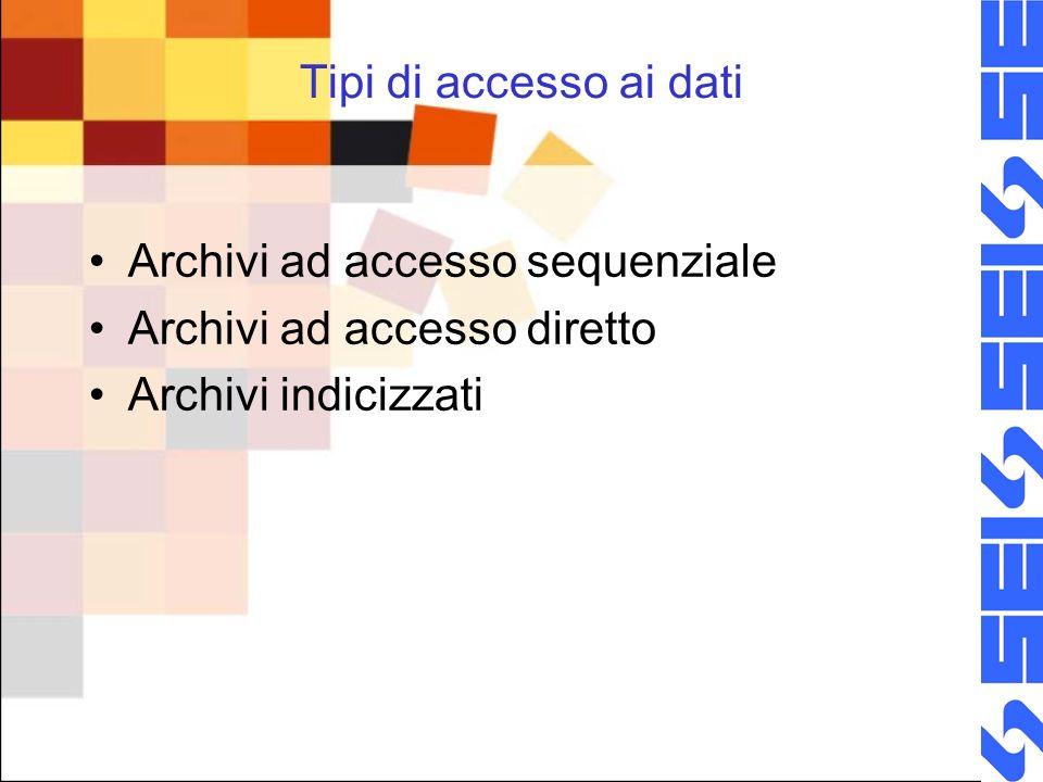 Tipi di accesso ai dati Archivi ad accesso sequenziale Archivi ad accesso diretto Archivi indicizzati