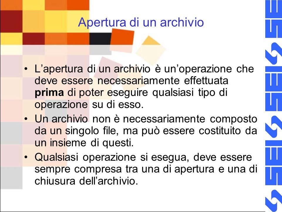 Apertura di un archivio Lapertura di un archivio è unoperazione che deve essere necessariamente effettuata prima di poter eseguire qualsiasi tipo di operazione su di esso.