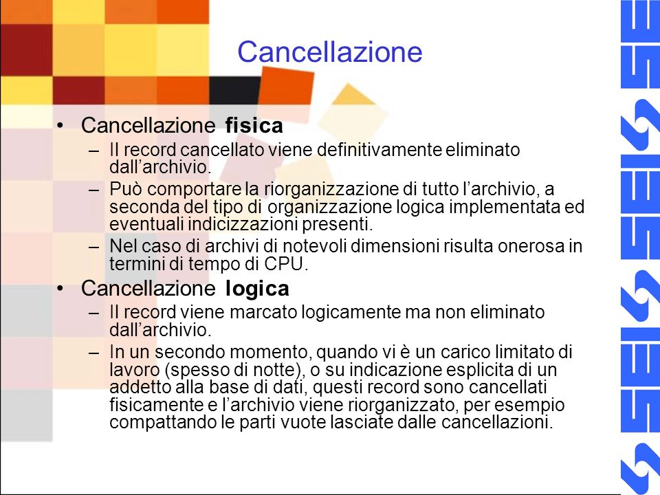 Cancellazione Cancellazione fisica –Il record cancellato viene definitivamente eliminato dallarchivio.