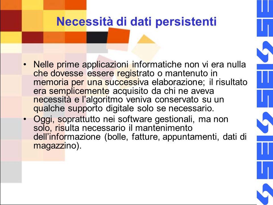 Persistenza – archivi e file La persistenza dei dati è la proprietà che li rende durevoli nel tempo, consentendo a essi di essere riutilizzati.