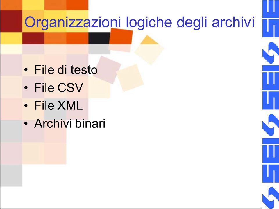 Organizzazioni logiche degli archivi File di testo File CSV File XML Archivi binari