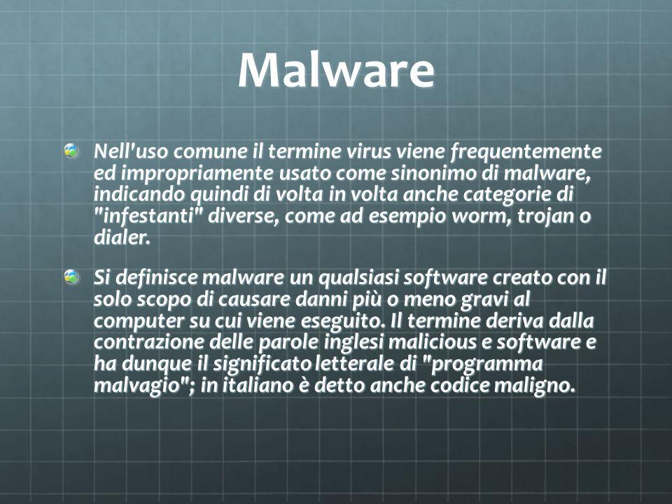 Malware Nell uso comune il termine virus viene frequentemente ed impropriamente usato come sinonimo di malware, indicando quindi di volta in volta anche categorie di infestanti diverse, come ad esempio worm, trojan o dialer.