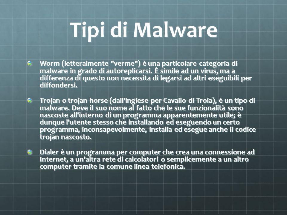 Tipi di Malware Worm (letteralmente verme ) è una particolare categoria di malware in grado di autoreplicarsi.