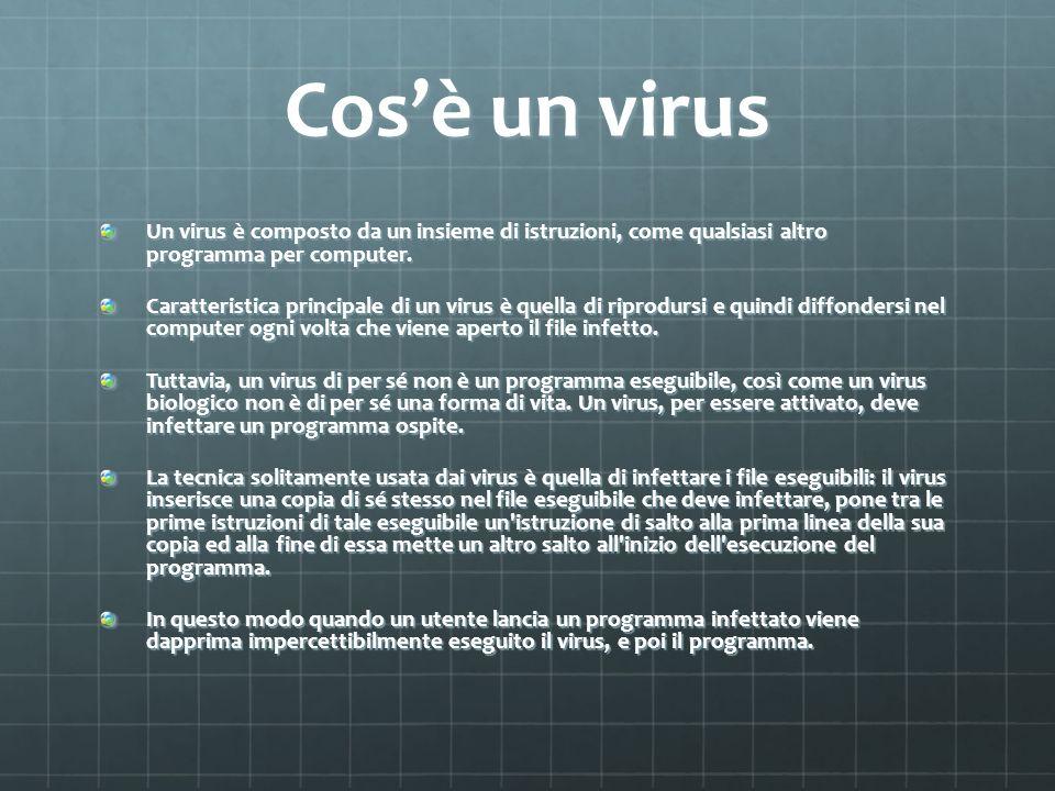 Cosè un virus Un virus è composto da un insieme di istruzioni, come qualsiasi altro programma per computer. Caratteristica principale di un virus è qu