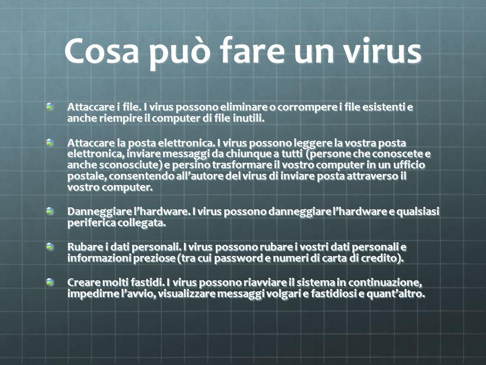 Cosa può fare un virus Attaccare i file. I virus possono eliminare o corrompere i file esistenti e anche riempire il computer di file inutili. Attacca