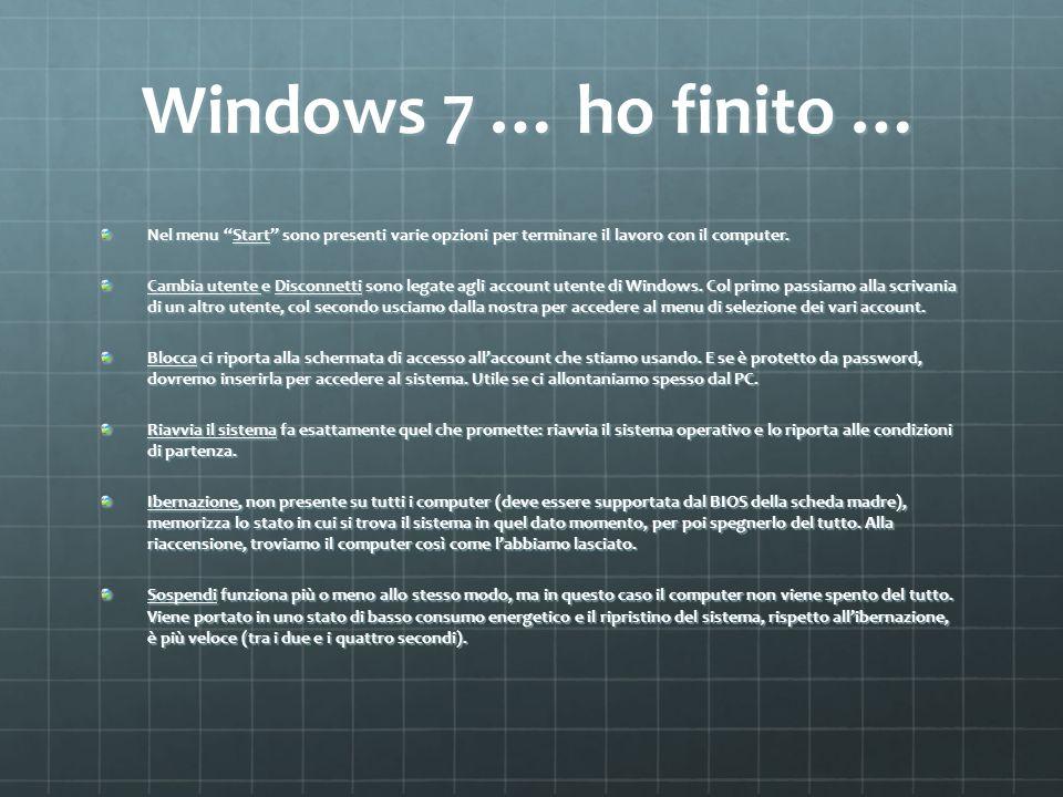 Windows 7 … ho finito … Nel menu Start sono presenti varie opzioni per terminare il lavoro con il computer. Cambia utente e Disconnetti sono legate ag