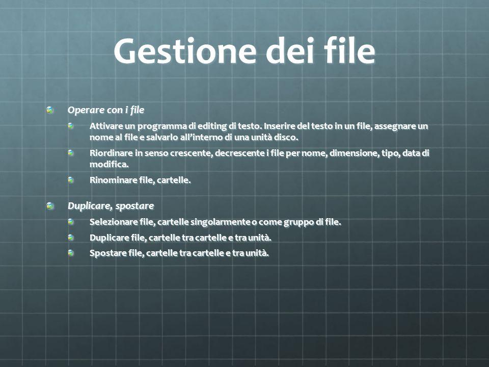 Gestione dei file Operare con i file Attivare un programma di editing di testo. Inserire del testo in un file, assegnare un nome al file e salvarlo al