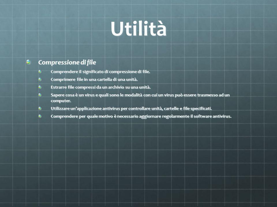 Utilità Compressione di file Comprendere il significato di compressione di file. Comprimere file in una cartella di una unità. Estrarre file compressi