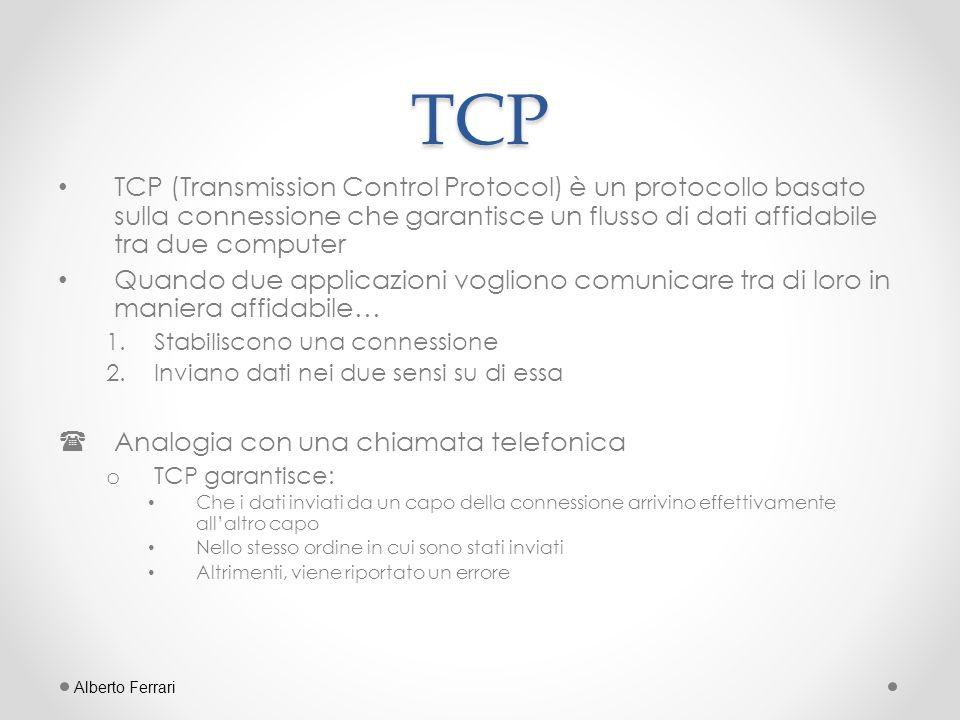 Quando utilizzare TCP TCP fornisce un canale punto-a-punto per applicazioni che richiedono comunicazioni affidabili.