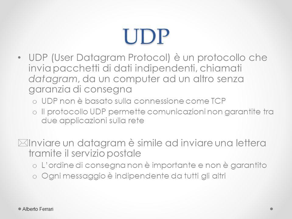Quando utilizzare UDP La gestione della connessione e il controllo dei dati ricevuti può causare overhead che, in alcuni casi, può invalidare completamente il servizio.
