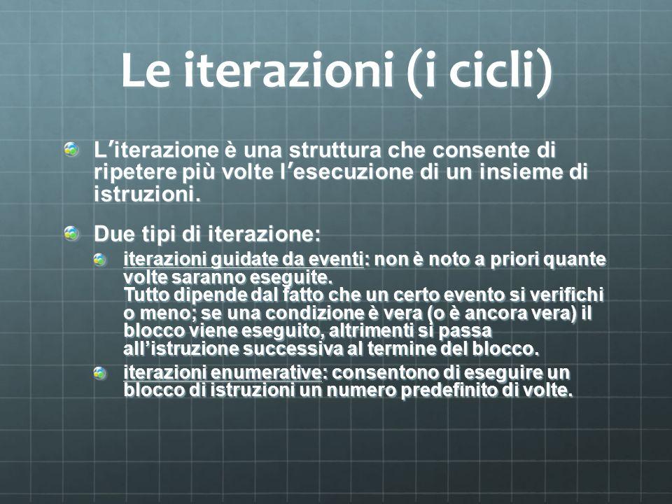 Le iterazioni (i cicli) Literazione è una struttura che consente di ripetere più volte lesecuzione di un insieme di istruzioni. Due tipi di iterazione
