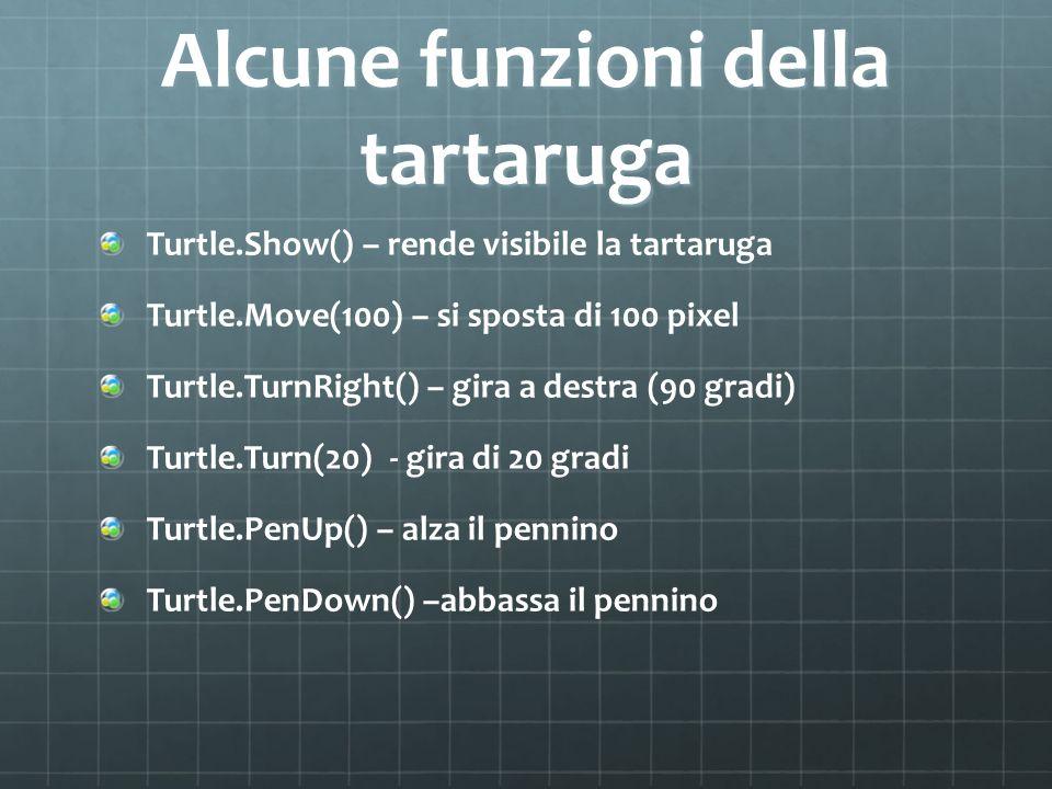 Alcune funzioni della tartaruga Turtle.Show() – rende visibile la tartaruga Turtle.Move(100) – si sposta di 100 pixel Turtle.TurnRight() – gira a dest