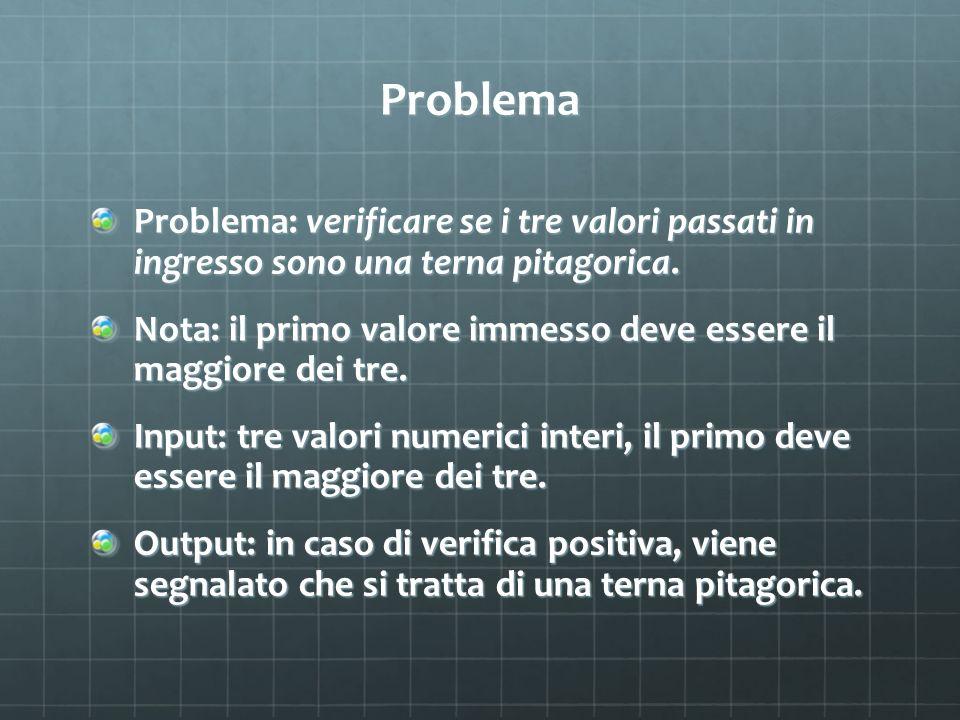 Problema Problema: verificare se i tre valori passati in ingresso sono una terna pitagorica. Nota: il primo valore immesso deve essere il maggiore dei