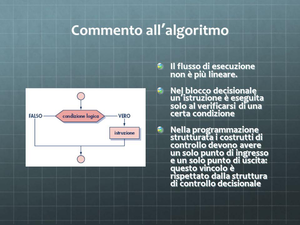 Commento all algoritmo Il flusso di esecuzione non è più lineare. Nel blocco decisionale un istruzione è eseguita solo al verificarsi di una certa con