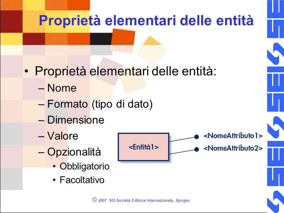 © 2007 SEI-Società Editrice Internazionale, Apogeo Proprietà elementari delle entità: –Nome –Formato (tipo di dato) –Dimensione –Valore –Opzionalità O