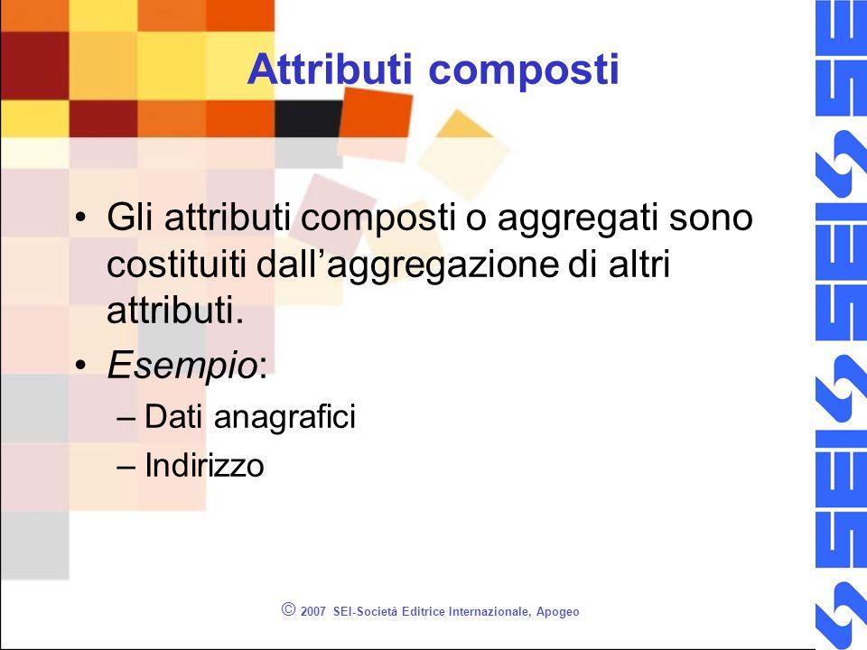© 2007 SEI-Società Editrice Internazionale, Apogeo Attributi composti Gli attributi composti o aggregati sono costituiti dallaggregazione di altri attributi.