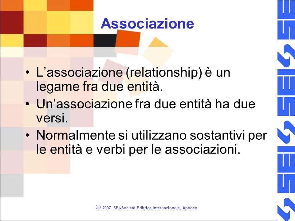 © 2007 SEI-Società Editrice Internazionale, Apogeo Associazione Lassociazione (relationship) è un legame fra due entità. Unassociazione fra due entità