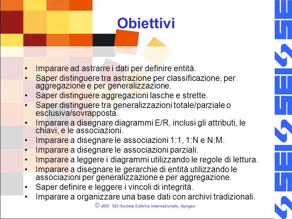 © 2007 SEI-Società Editrice Internazionale, Apogeo Obiettivi Imparare ad astrarre i dati per definire entità. Saper distinguere tra astrazione per cla