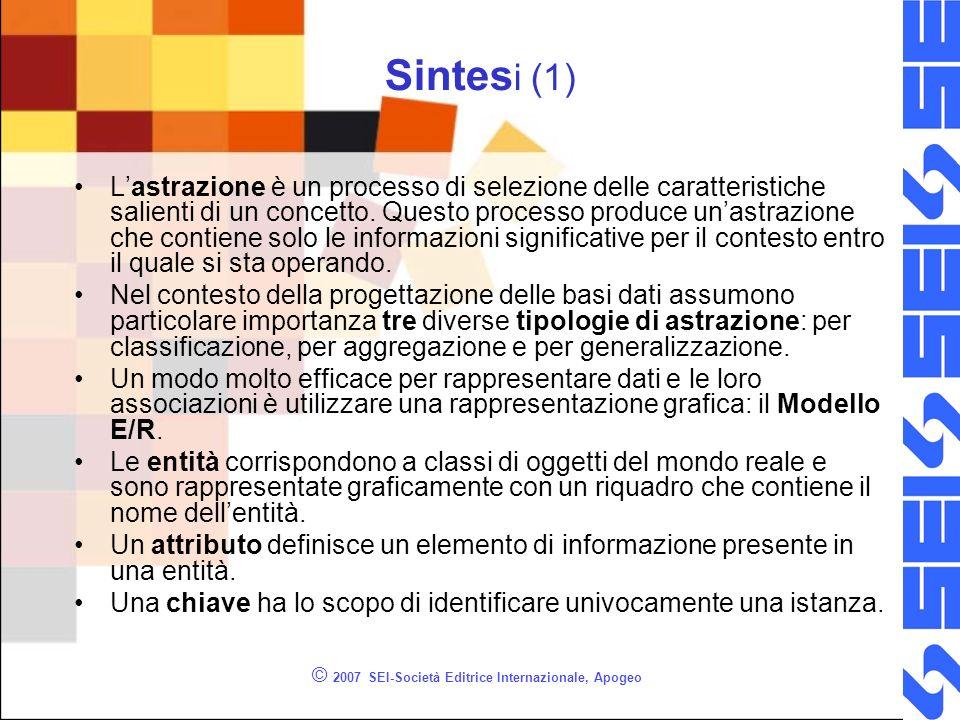 © 2007 SEI-Società Editrice Internazionale, Apogeo Sintes i (1) Lastrazione è un processo di selezione delle caratteristiche salienti di un concetto.