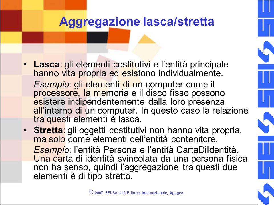 © 2007 SEI-Società Editrice Internazionale, Apogeo Aggregazione lasca/stretta Lasca: gli elementi costitutivi e lentità principale hanno vita propria