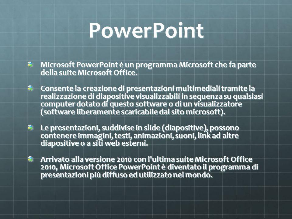 PowerPoint Microsoft PowerPoint è un programma Microsoft che fa parte della suite Microsoft Office. Consente la creazione di presentazioni multimedial