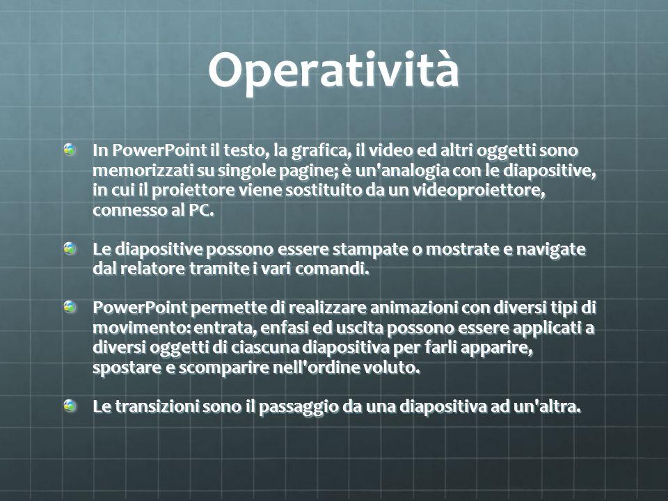 Operatività In PowerPoint il testo, la grafica, il video ed altri oggetti sono memorizzati su singole pagine; è un'analogia con le diapositive, in cui