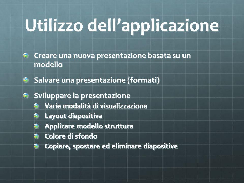 Utilizzo dellapplicazione Creare una nuova presentazione basata su un modello Salvare una presentazione (formati) Sviluppare la presentazione Varie modalità di visualizzazione Layout diapositiva Applicare modello struttura Colore di sfondo Copiare, spostare ed eliminare diapositive