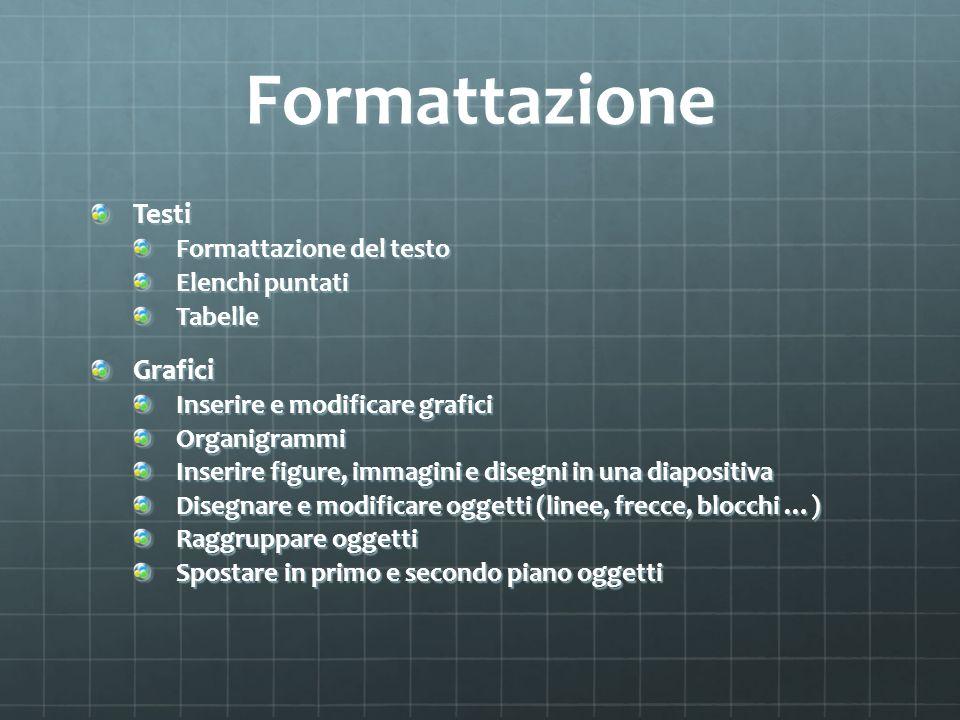 Formattazione Testi Formattazione del testo Elenchi puntati TabelleGrafici Inserire e modificare grafici Organigrammi Inserire figure, immagini e dise