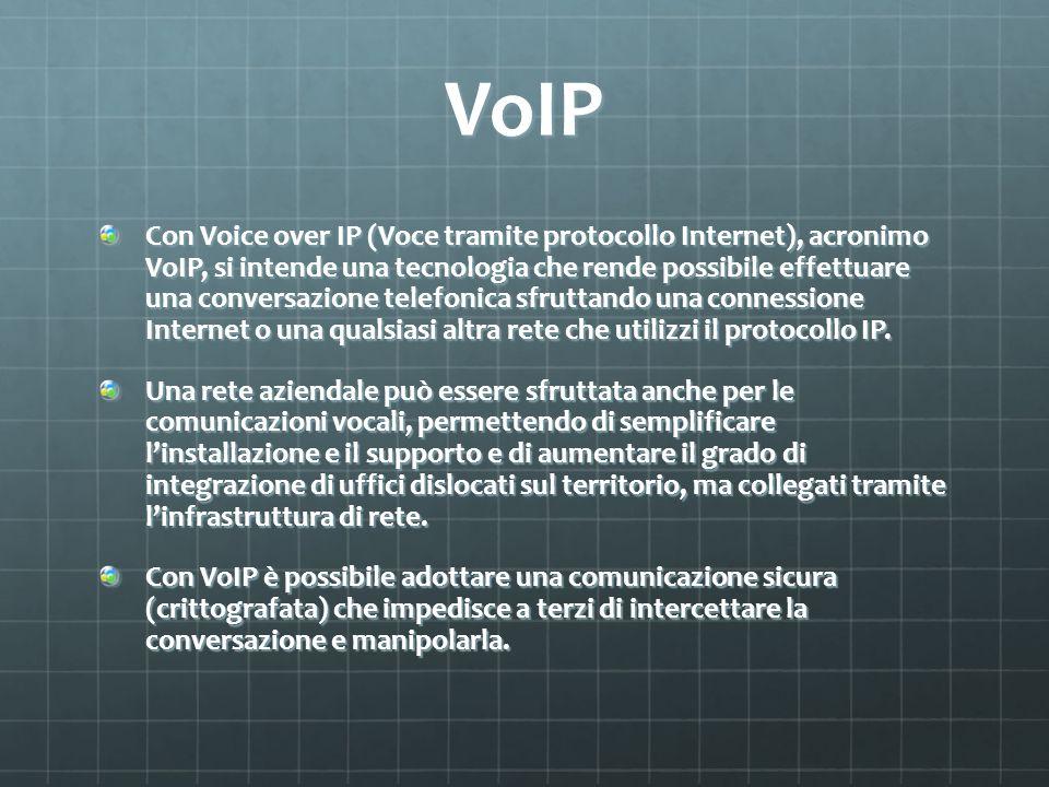 VoIP Con Voice over IP (Voce tramite protocollo Internet), acronimo VoIP, si intende una tecnologia che rende possibile effettuare una conversazione telefonica sfruttando una connessione Internet o una qualsiasi altra rete che utilizzi il protocollo IP.