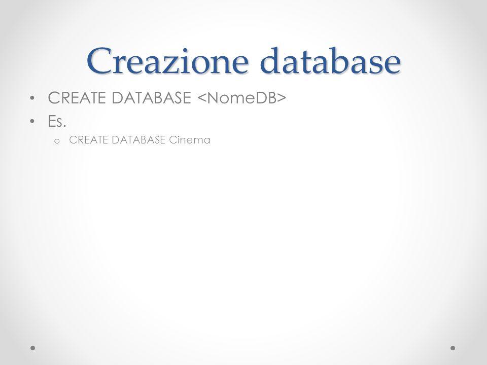 Creazione database CREATE DATABASE Es. o CREATE DATABASE Cinema