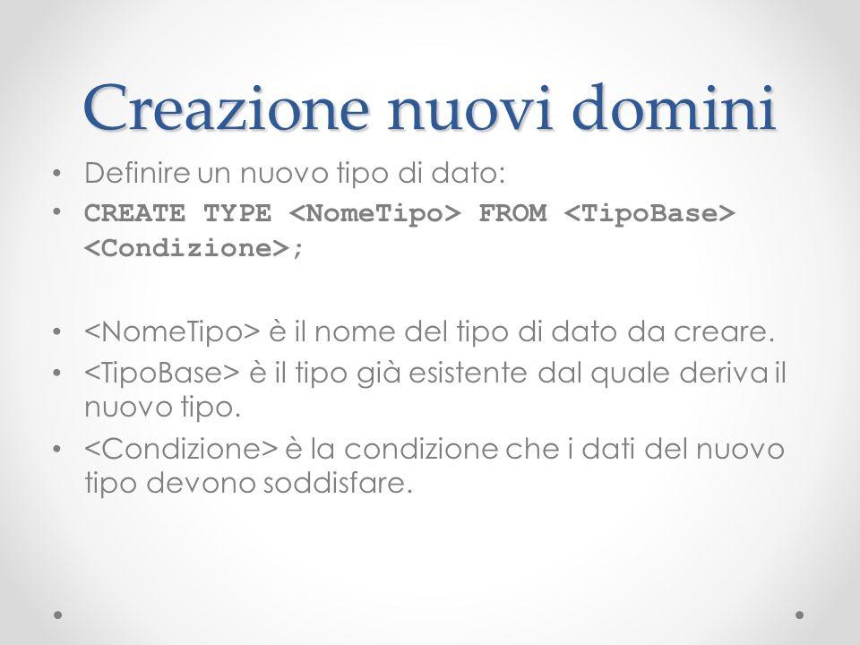 Creazione nuovi domini Definire un nuovo tipo di dato: CREATE TYPE FROM ; è il nome del tipo di dato da creare. è il tipo già esistente dal quale deri
