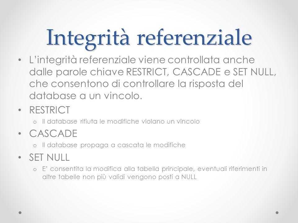 Integrità referenziale Lintegrità referenziale viene controllata anche dalle parole chiave RESTRICT, CASCADE e SET NULL, che consentono di controllare