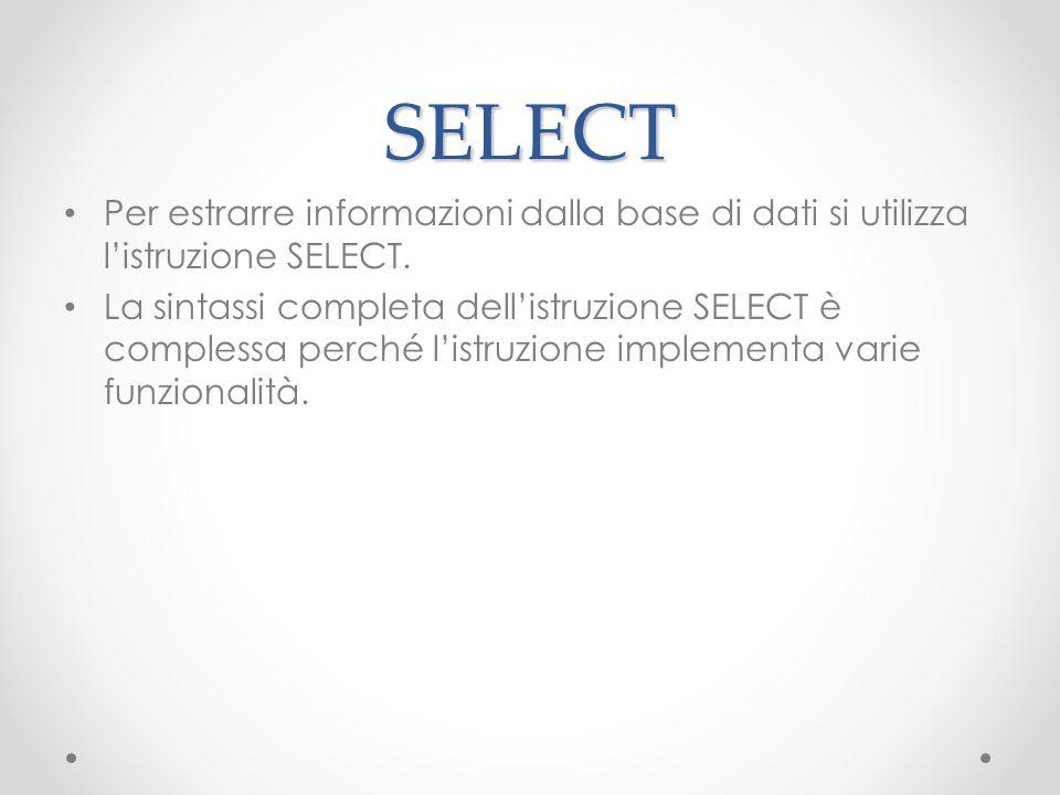 SELECT Per estrarre informazioni dalla base di dati si utilizza listruzione SELECT. La sintassi completa dellistruzione SELECT è complessa perché list