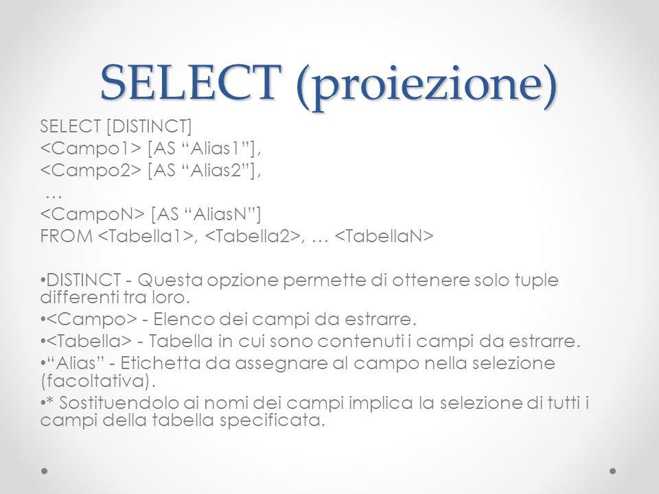 SELECT (proiezione) SELECT [DISTINCT] [AS Alias1], [AS Alias2], … [AS AliasN] FROM,, … DISTINCT - Questa opzione permette di ottenere solo tuple diffe