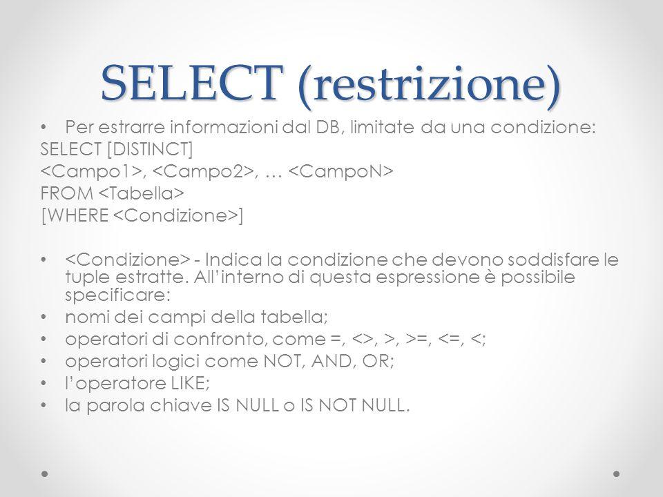 SELECT (restrizione) Per estrarre informazioni dal DB, limitate da una condizione: SELECT [DISTINCT],, … FROM [WHERE ] - Indica la condizione che devo