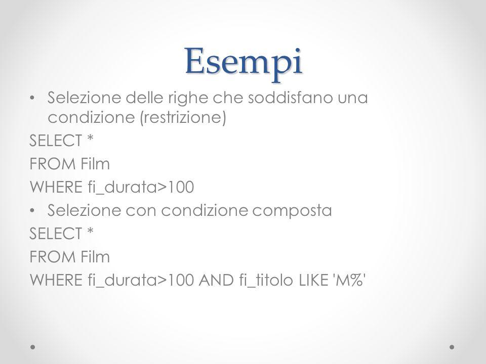 Esempi Selezione delle righe che soddisfano una condizione (restrizione) SELECT * FROM Film WHERE fi_durata>100 Selezione con condizione composta SELE