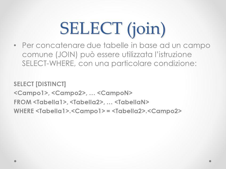 SELECT (join) Per concatenare due tabelle in base ad un campo comune (JOIN) può essere utilizzata listruzione SELECT-WHERE, con una particolare condiz