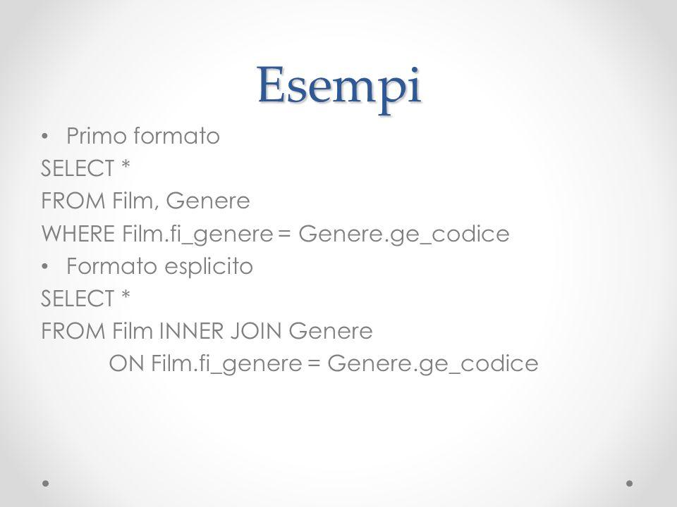 Esempi Primo formato SELECT * FROM Film, Genere WHERE Film.fi_genere = Genere.ge_codice Formato esplicito SELECT * FROM Film INNER JOIN Genere ON Film