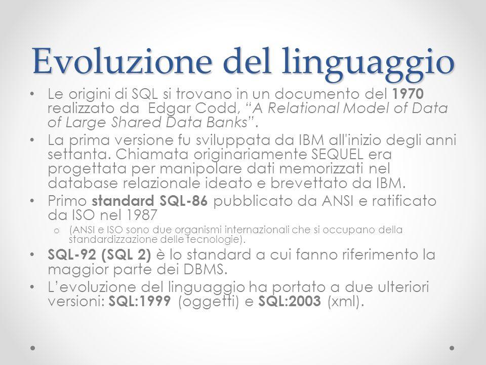 Evoluzione del linguaggio Le origini di SQL si trovano in un documento del 1970 realizzato da Edgar Codd, A Relational Model of Data of Large Shared D