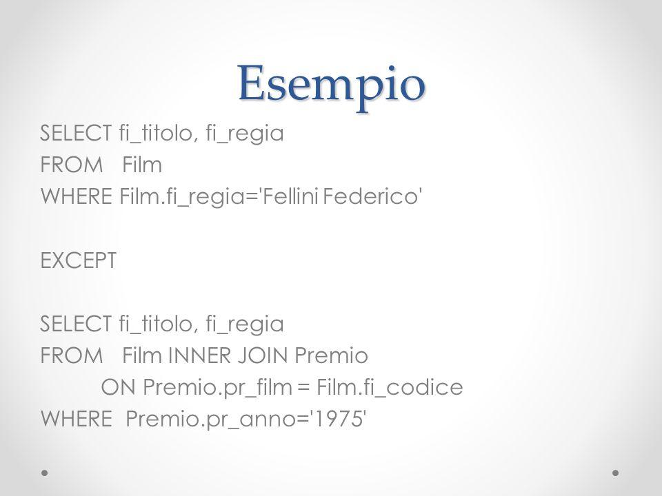 Esempio SELECT fi_titolo, fi_regia FROM Film WHERE Film.fi_regia='Fellini Federico' EXCEPT SELECT fi_titolo, fi_regia FROM Film INNER JOIN Premio ON P