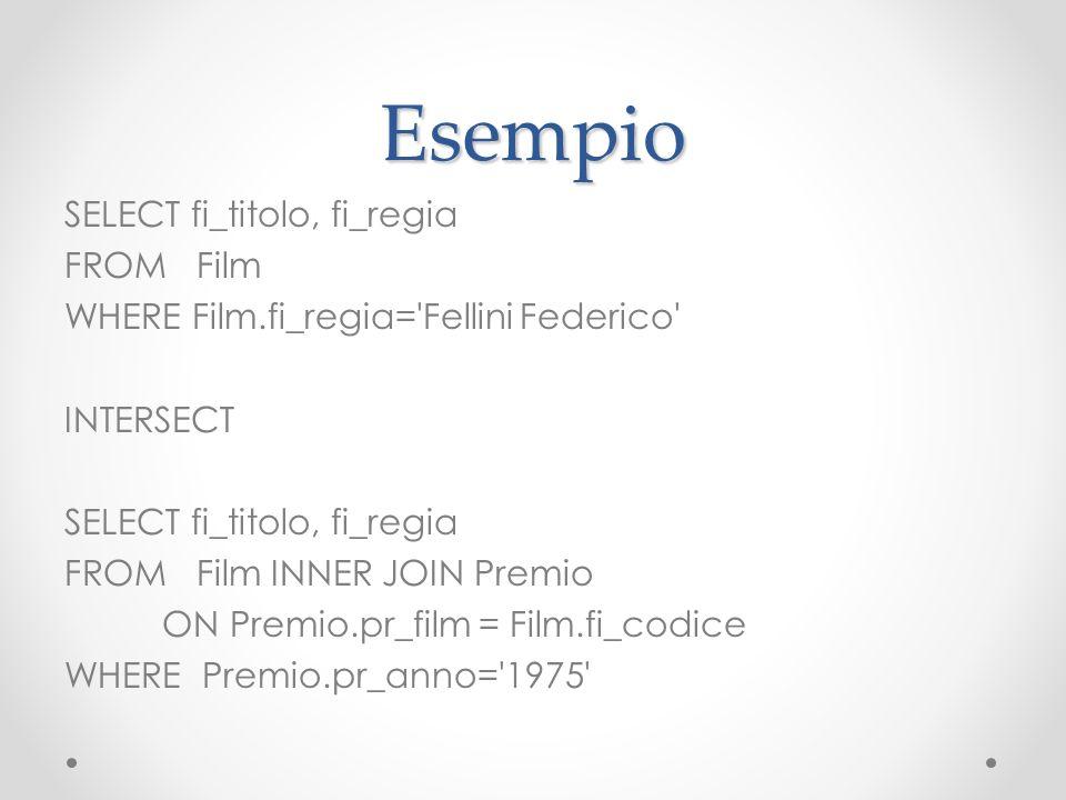 Esempio SELECT fi_titolo, fi_regia FROM Film WHERE Film.fi_regia='Fellini Federico' INTERSECT SELECT fi_titolo, fi_regia FROM Film INNER JOIN Premio O